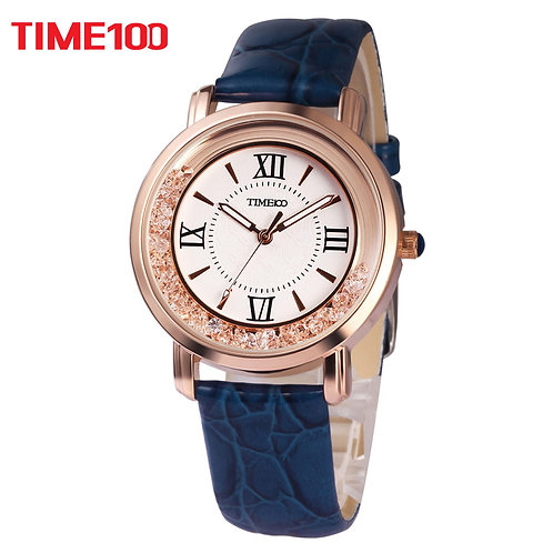 2017 New TIME100 Women's Watch Blue Leather Strap Roman Numeral Big Dial