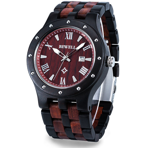 BEWELL 109A Men's Sandal Wooden Watches Handmade Date Display Analog