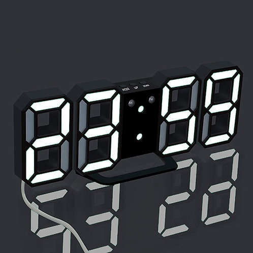 3D Large LED Wall Clock Digital Date Time Celsius Nightlight Display Table Desk