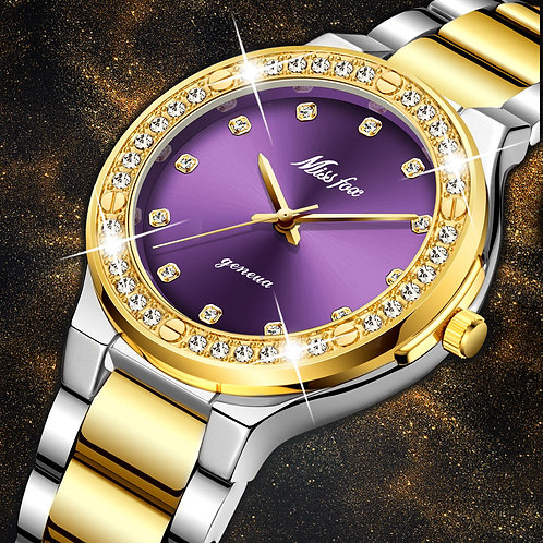MISSFOX Women Watches Brand Luxury Watch Women Diamond Fashion Purple Geneva