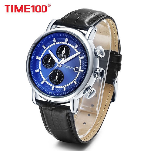 2017 TIME100 Men's Multifunction Sport Casual Quartz Watches Leather Strap