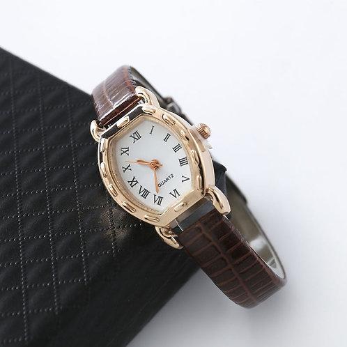 1PCs Vintage Simple Women Quartz Watches Clock Retro Fashion Solid Color