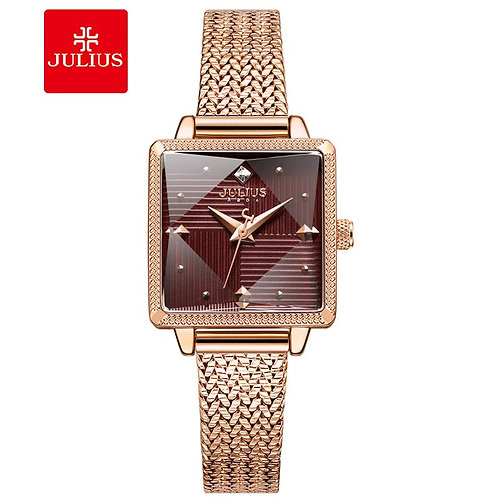 Julius Brand Classic Quartz Watch Women Fashion Square Watch Stainless Steel