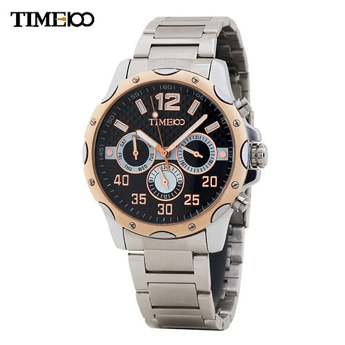 NEW TIME100 Men's Quartz Watch All Stainless Steel Strap Three Subdial