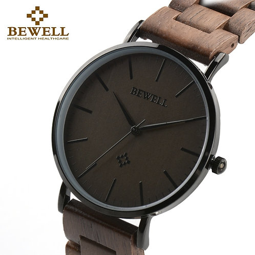BEWELL Men Ultra Thin Wood Watches Luxury Watch Brand as Male Gift for Father