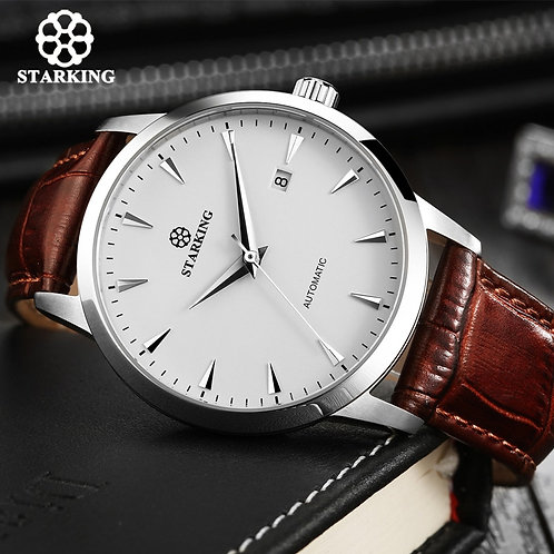 STARKING Automatic Watches Men Stainless Steel Business Wristwatch Leather