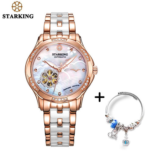 STARKING Automatic Lady Watch Rose Gold Steel Case Vogue Dress Watches Bracelet