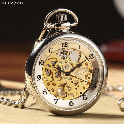 Hot Sale Retro Silver Skeleton Transparent Mechanical Pocket Watch for Men Women