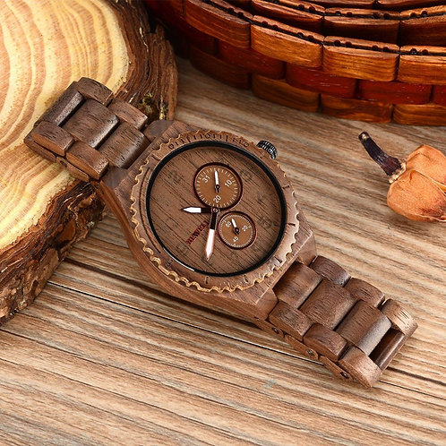 Bewell Mens Wooden Watches Quartz Top Brand Cusual Wood Watch Men Date Luminous