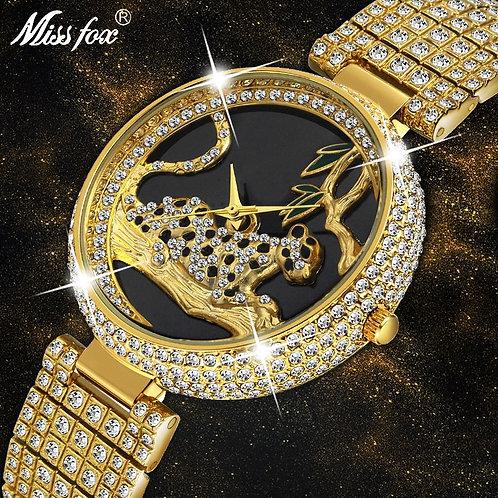 MISSFOX Women Watches Women Luxury Brand Fashion Black Leopard Gold Watch