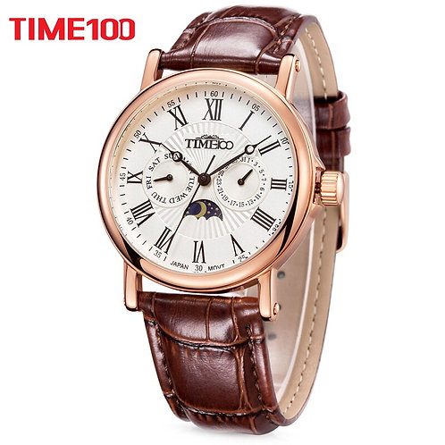 TIME100 Men Watches Quartz  Waterproof Auto Date Sun Phase Leather Strap
