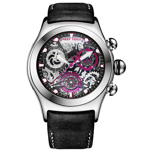 Reef Tiger/Rt Mens Sport Watches With Chronograph Skeleton Dial Date RGA792