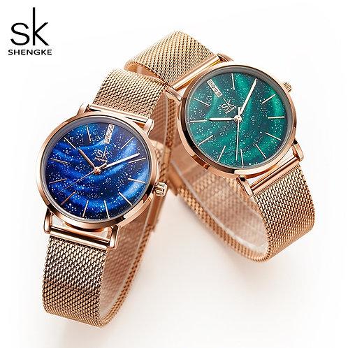 Shengke Women Watches Starry Green Dial Reloj Mujer Ladies Wristwatch Ultra-Thin