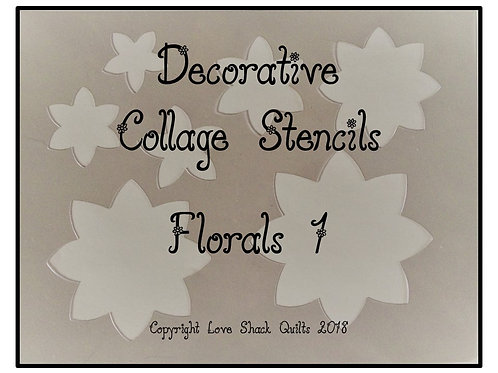 Decorative Collage Quilting Stencils Feather & Floral Set
