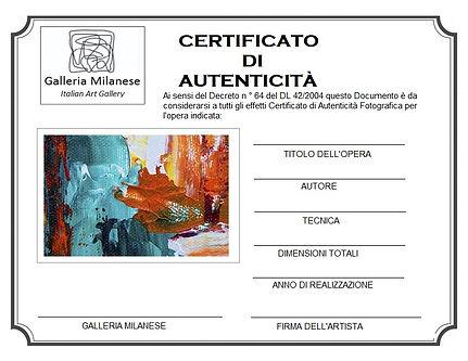 CERTIFICATO DI AUTENTICITÀ GALLERIA MILA