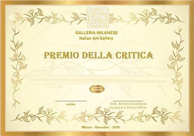 PREMIO DELLA CRITICA Dott ANTONIO CASTEL
