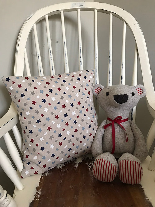 Red, Blue and White Star Cushion Cover