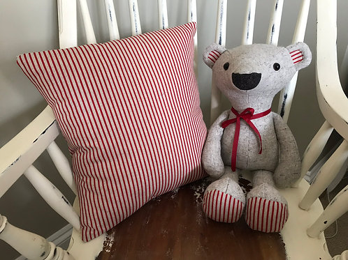 Red Stipe Cushion Cover