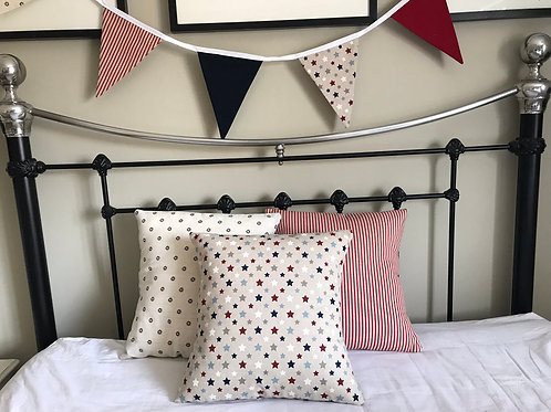 Red, Blue and Linen Bunting
