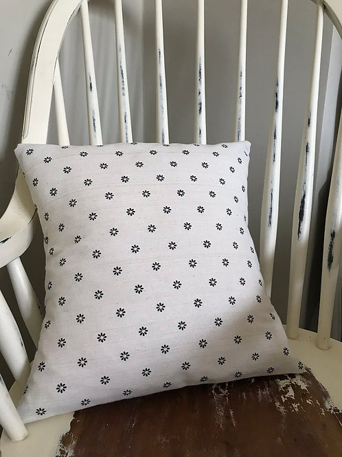 Black Daisy on Cream Cushion Cover