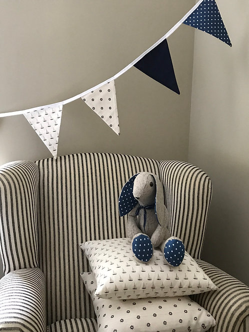 Blue, Linen and Vintage Sailboat Bunting