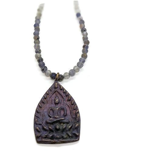 Labradorite, Iolite, and Buddha pendant