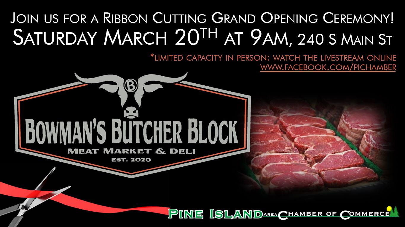 Bowman's Butcher Block Ribbon Cutting