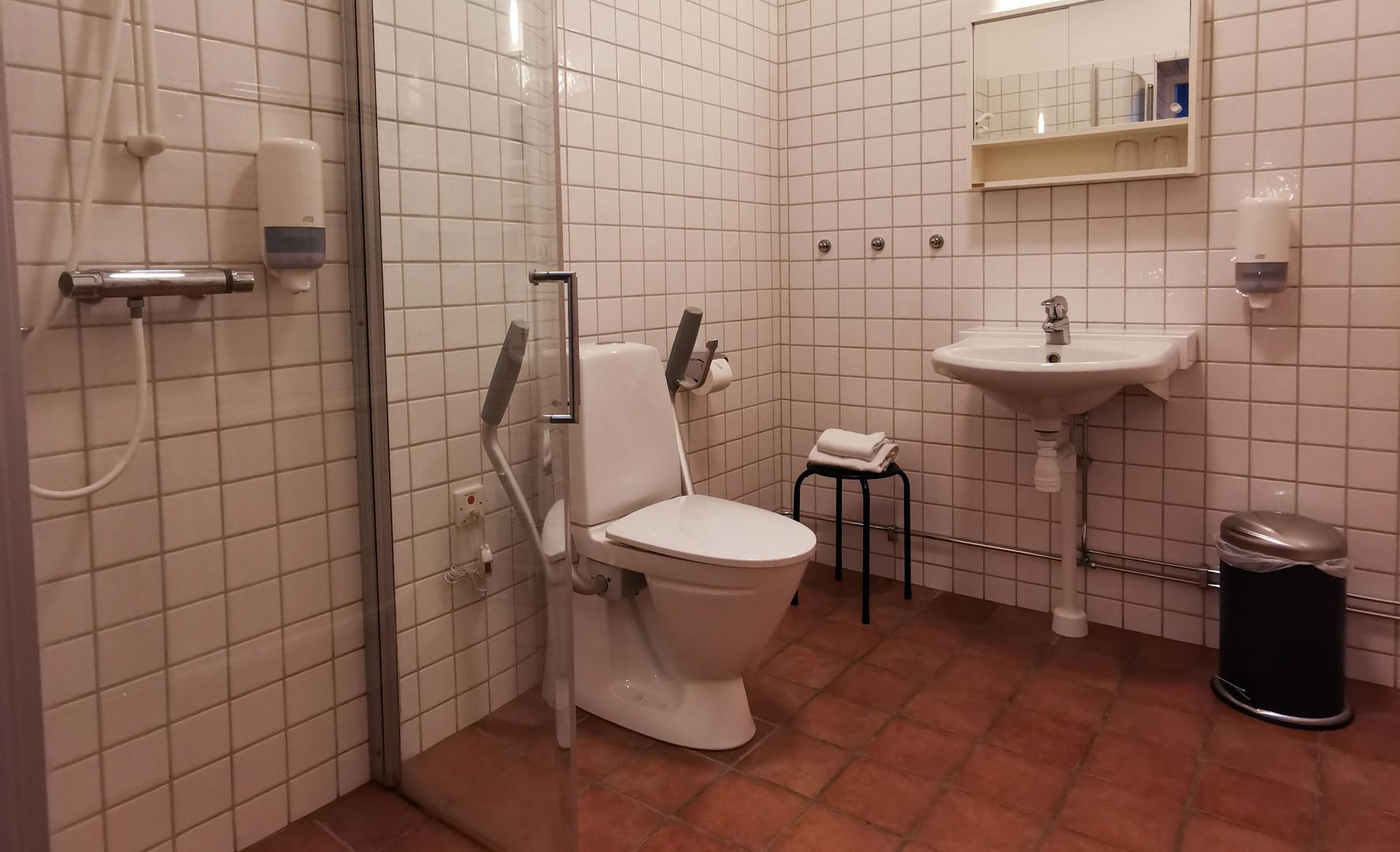 Hotellrum 140cm säng, dusch och toalett