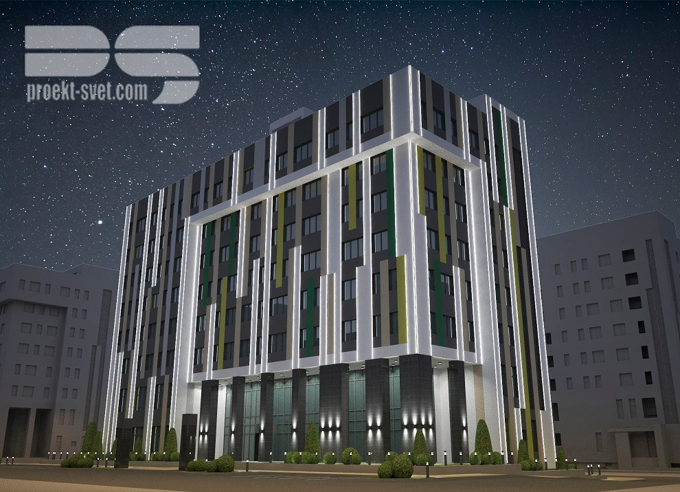 Проект архитектурного освещения, БЦ Аврора, Киргизия