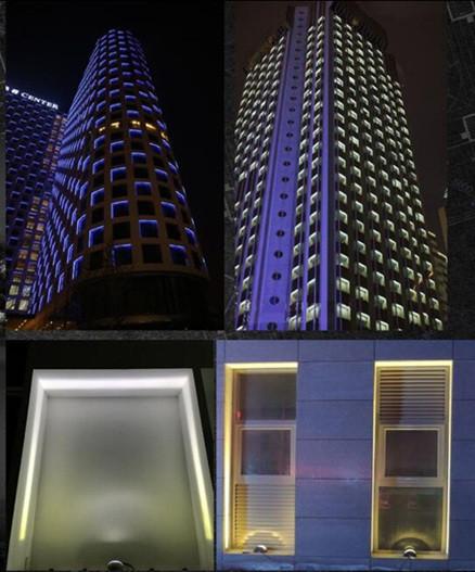 Пример использования оконного светодиодного светильника на фасаде