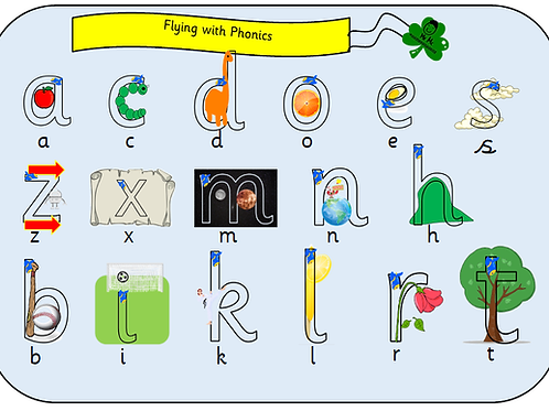 Pre Cursive Flying with Phonics Sound mat / flash cards (Single Sounds)