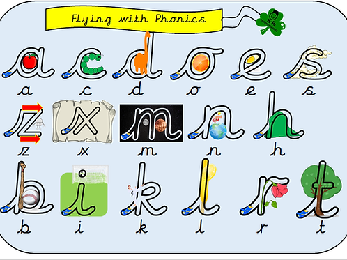 Cursive Flying with Phonics Sound mat / flash cards (Single Sounds)