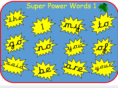 Super Power Words Pack (Word mats and Display words)