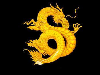 golden Chinese dragon on black backgroun