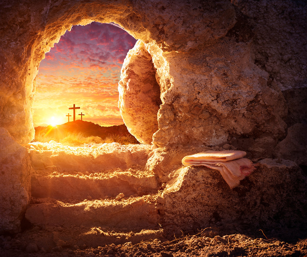 Empty Tomb With Crucifixion At Sunrise - Resurrection Concept.jpg