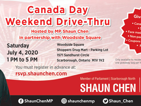 Canada Day Drive-Thru Event With MP Shaun Chen