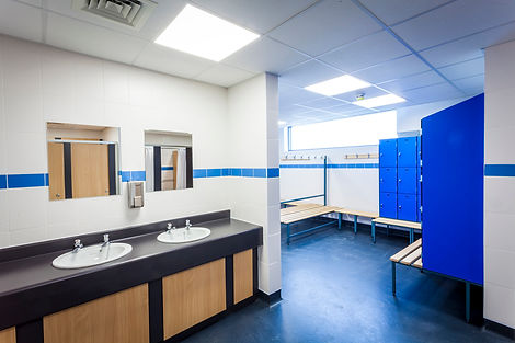 plumbing commercial sports hall wash roo