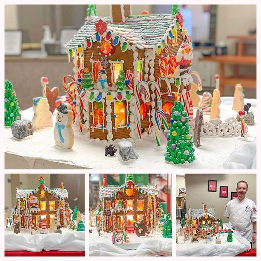 2020 GBD Gingerbread-Smackdown - People's Choice - Favorite Winter Themed Scene Award - Stained Glass Gingerbread House by Jim Tinkham