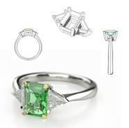 Platinum 3 stone ring- KeyShot Render