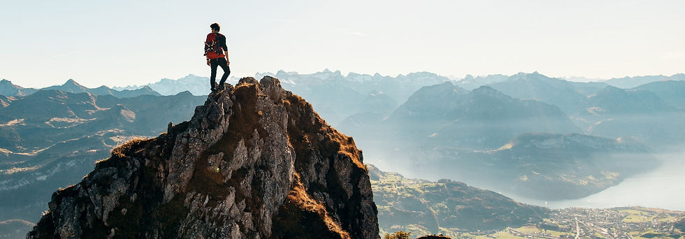 Hiking up mountain.