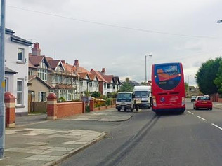 Broken down bus on Church Road