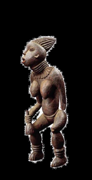 Figure féminine du lefem Bamiléké, chefferie Bangwa, Cameroun. Bois, pigments 81,5 × 35 × 20 cm Fondation Dapper, Paris. Photo Hughes Dubois