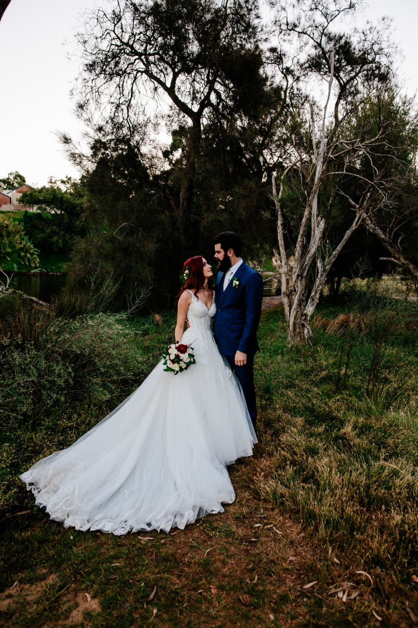 Burgundy wedding bouquet by Budding Moments in Perth WA