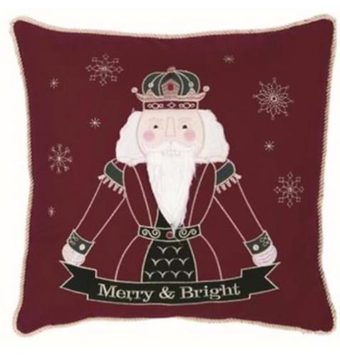 Happy Holidays - Cuscino rosso con schiaccianoci