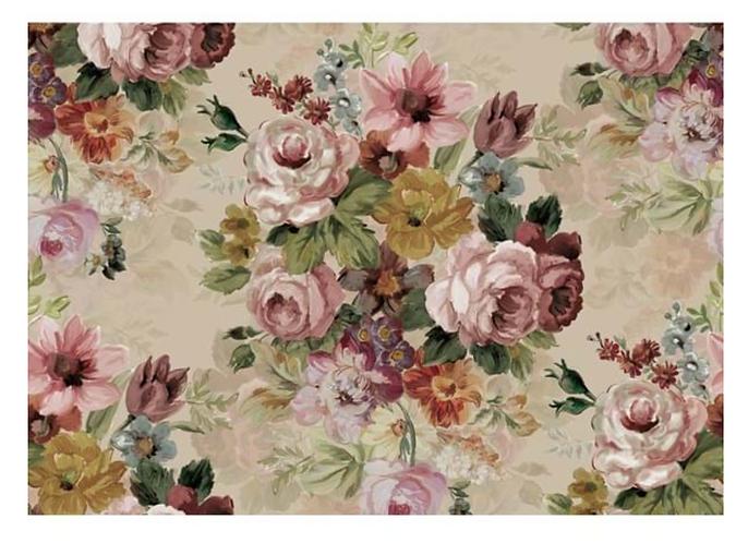 Affresco - Tappeto fiori multicolor 92x154
