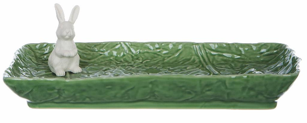 Le Pàques Gourmand - Piatto rettangolare verde con coniglio