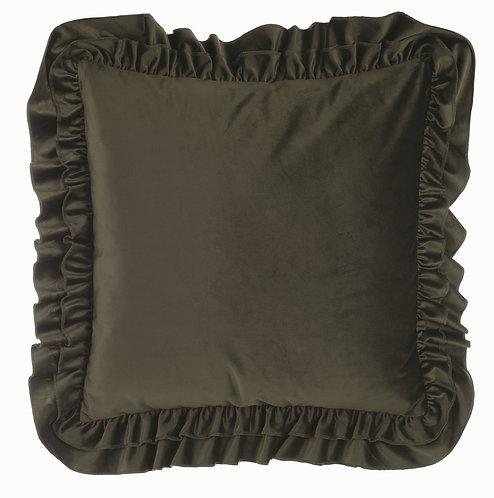 Velvet - Cuscino con gale verde 50x50