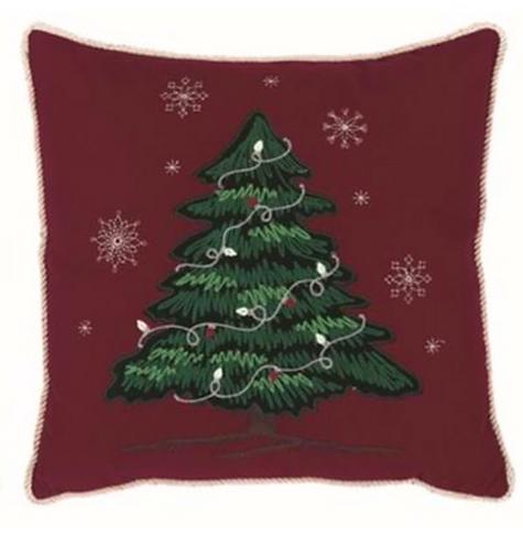 Happy Holidays - Cuscino rosso con albero