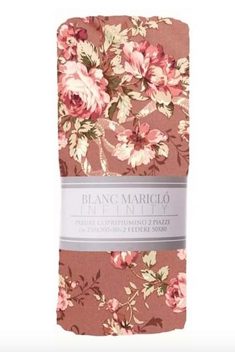 Marella - Parure Copripiumino matrimoniale fondo rosa