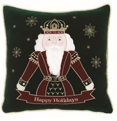 Happy Holidays - Cuscino verde con schiaccianoci